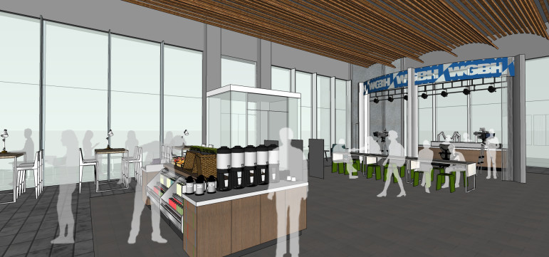 Initial draft concept drawings of the proposed WGBH studio and cafe inside the Boston Public Library. (Image: WGBH)
