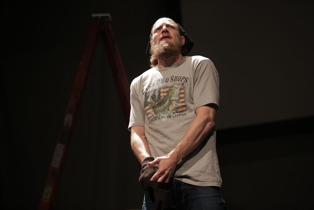 """StoryWorks' current production is """"North By Inferno,"""" recounting the impact of several deaths of men working in the Bakken oil fields of North Dakota. (Photo: StoryWorks)"""