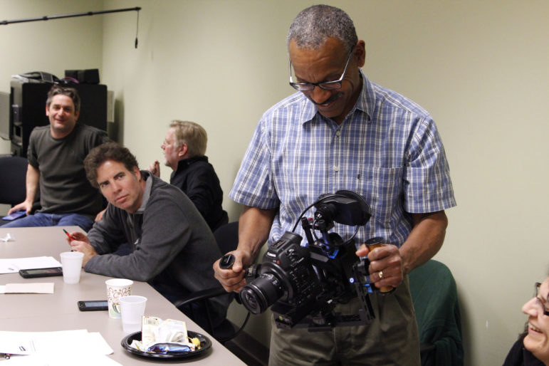 Samuel Clemmons, producer and director of University Media Services at WIPB/Ball State University in Muncie, Ind., tests out equipment at a Video Dads training. (Photos: Video Dads)