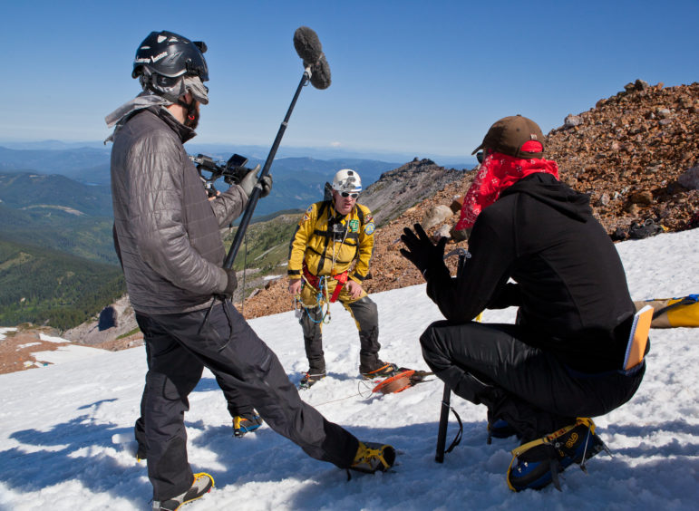 OPB crew members film on Mount Hood for Oregon Field Guide. (Photo: Katie Campbell)