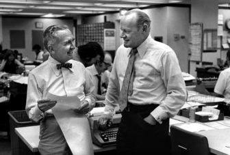 Nelson Poynter and Eugene Patterson aka Gene Patterson in the Times newroom. Times photo by Hannah shot 3/7/74. (Credit Image: Tampa Bay Times/ZUMAPRESS.com)
