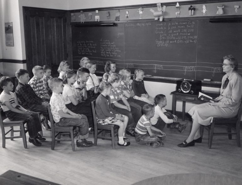 Children in a Wisconsin classroom listen to lessons broadcast by radio. (Photo courtesy of the University of Wisconsin-Madison Archives (ID S05822))