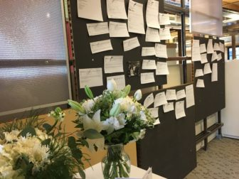 A bulletin board near the entrance to PRI has emails and tributes posted in memory of Vidal Guzman (Photo: PRI)