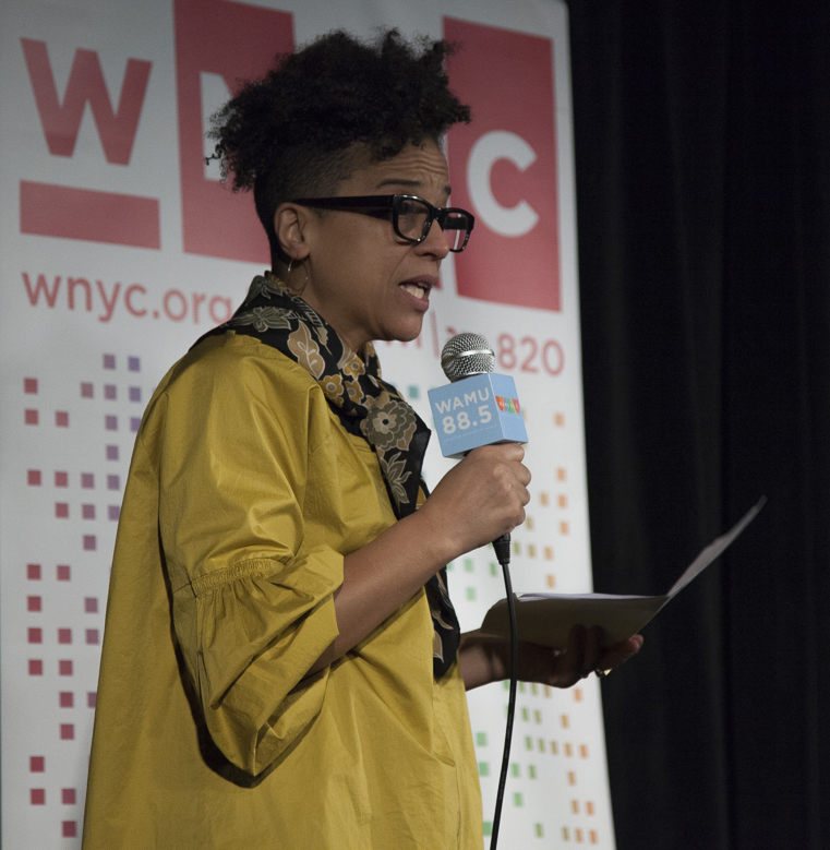WNYC's Rebecca Carroll speaks at a recent WAMU event. (Photo: Christopher Baronavski/WAMU)