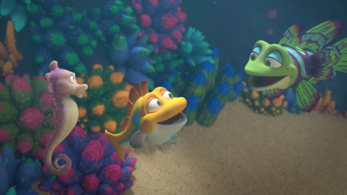 Splash and Bubbles, a new series exploring marine biology from the Jim Henson Co., is among the children's shows getting round-the-clock airings on the multiplatform PBS Kids service. (Image: Jim Henson Co.)