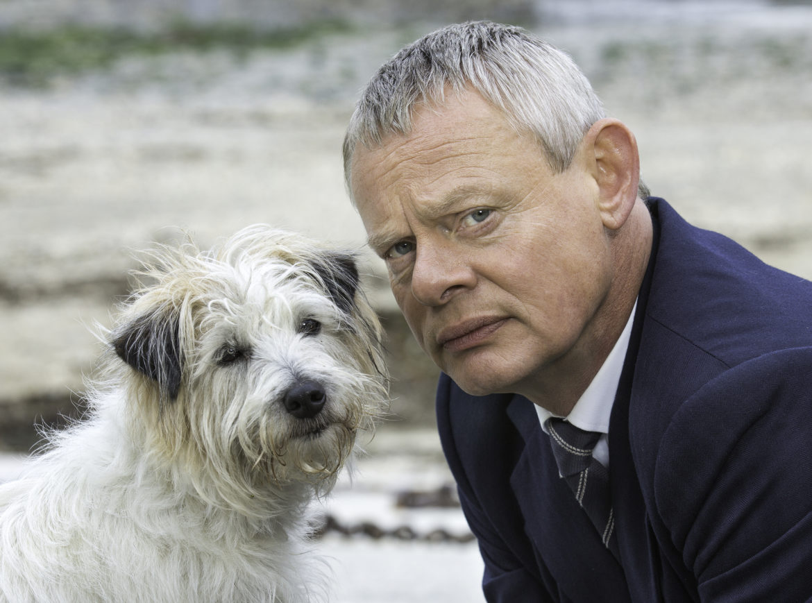Martin Clune, who plays Doc Martin, and his nemesis, Buddy the dog. (Photo: APT)