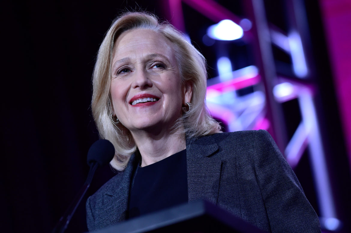During PBS' Executive session at the Television Critics Association Winter Press Tour in Pasadena, CA on Sunday, January 15, 2017, PBS President and CEO Paula Kerger discusses upcoming PBS programming. All photos in this set should be credited to Rahoul Ghose/PBS
