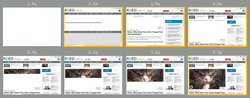 WebpageTest filmstrip of KQED page loading