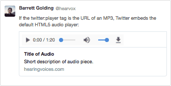 HTML default audio player embedded in a tweet