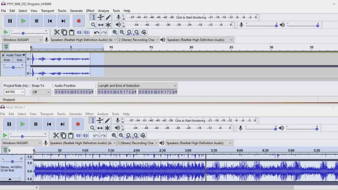 How to record a music show at home with Audacity
