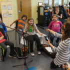 Soltau records students' responses to her music.