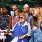 "Eva Kor and students at a screening of ""Eva: A-7063"" Sept. 17"