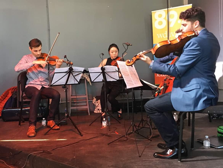 The Tesla Quartet performs at a WDAV Small Batch concert.