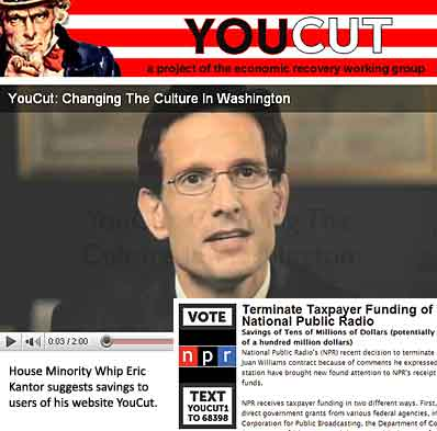 """Rep. Eric Cantor and """"YouCut"""" proposal"""